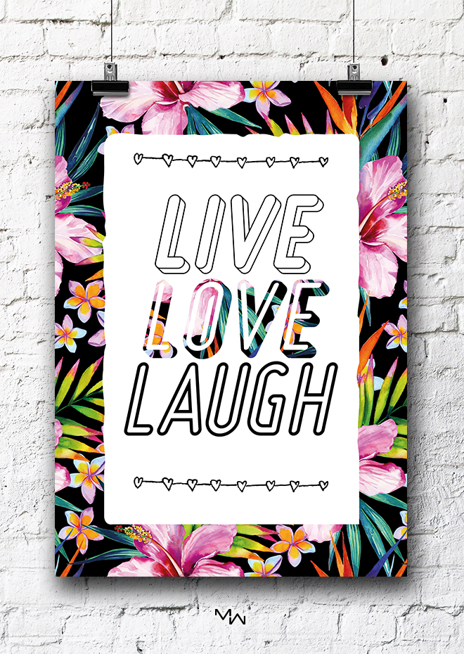 pôster A3 live love laugh